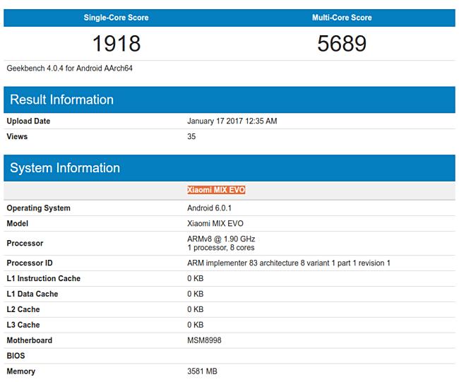 Εμφανίστηκε το Xiaomi Mix Evo στο GeekBench 1