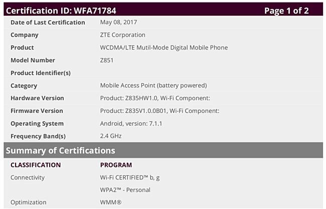 ZTE Z851: Έκανε την εμφάνιση του με πιστοποίηση WiFi! 1