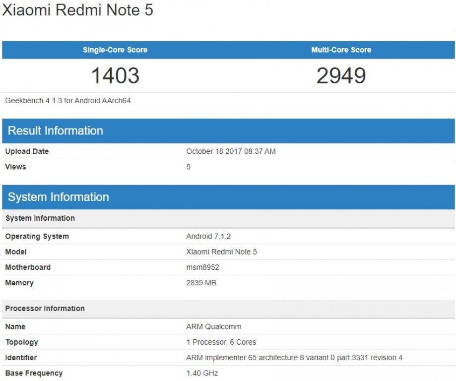 Πραγματοποιεί νέα του επίσκεψη το Xiaomi Redmi Note 5 στο Geekbench με chipset SD617 1
