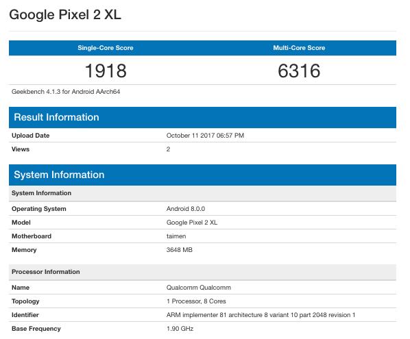 "Google Pixel 2 & Pixel 2 XL: Τα ""πήρε"" το μάτι μας και στο Geekbench, με πολύ καλές επιδόσεις 1"