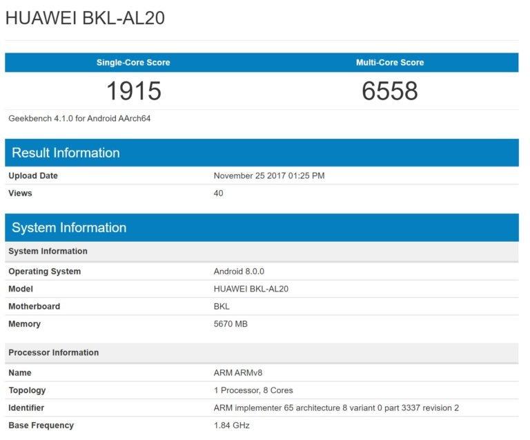 Καταχωρημένο στις λίγες του Geekbench το επερχόμενο Honor V10 με 6GB RAM και Octa Core SoC 1