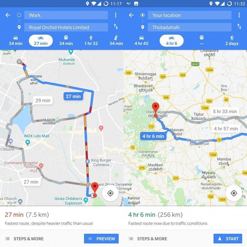 Two Wheeler screens Η νέα λειτουργία για τα δίτροχα των Χαρτών Google εμφανίζει ταχύτερες διαδρομές