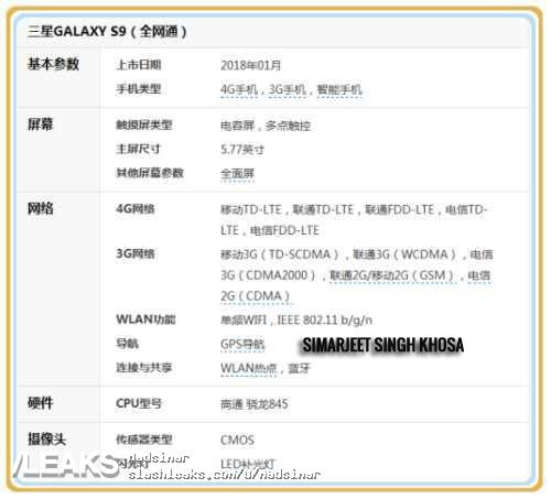 Αναρτήθηκαν και άλλες πληροφορίες για το Samsung Galaxy S9 1
