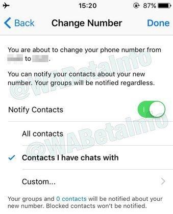 Στην πρόσφατη beta έκδοση του WhatsApp για επιτρέπεται στους χρήστες να ενημερώνουν τις επαφές όταν αλλάζουν αριθμό 1