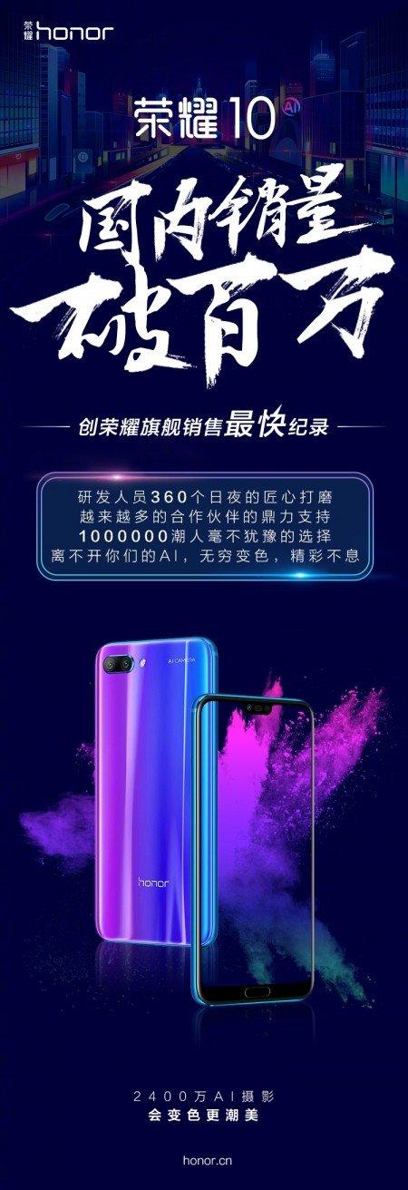 Πάνω από 1 εκατ. έχουν φθάσει οι πωλήσεις μονάδων του Honor 10 στην Κίνα