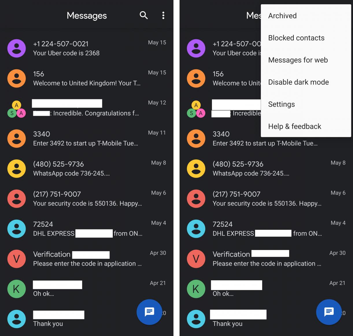 Αποκτά σκοτεινή λειτουργία η εφαρμογή Android Messages 1
