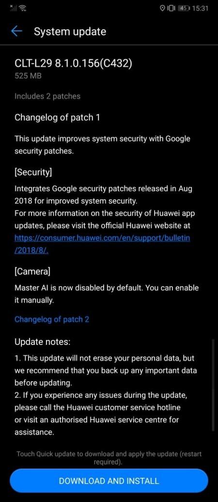 Η τελευταία ενημέρωση απενεργοποιεί την λειτουργία AI στη φωτογραφική μηχανή του Huawei P20 Pro 1