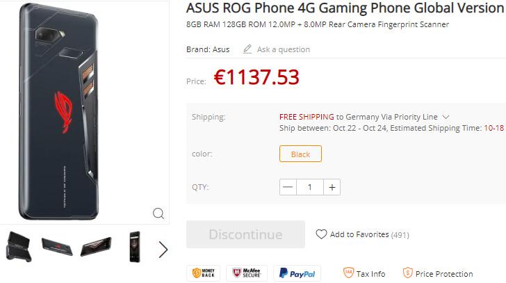 Για τον μήνα Οκτώβριο αναμένεται η πώληση του Asus ROG Phone σύμφωνα με λίστα του Gearabest.com 1