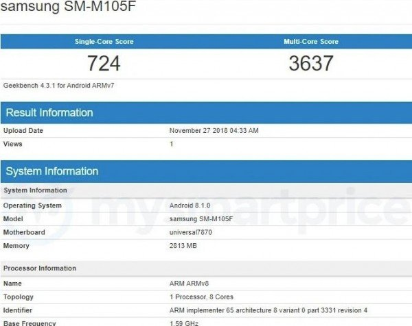 Και ξαφνικά για λίγο το Samsung Galaxy M10 εντοπίστηκε στο GeekBench με SoC Exynos 7870 + 3GB RAM 1