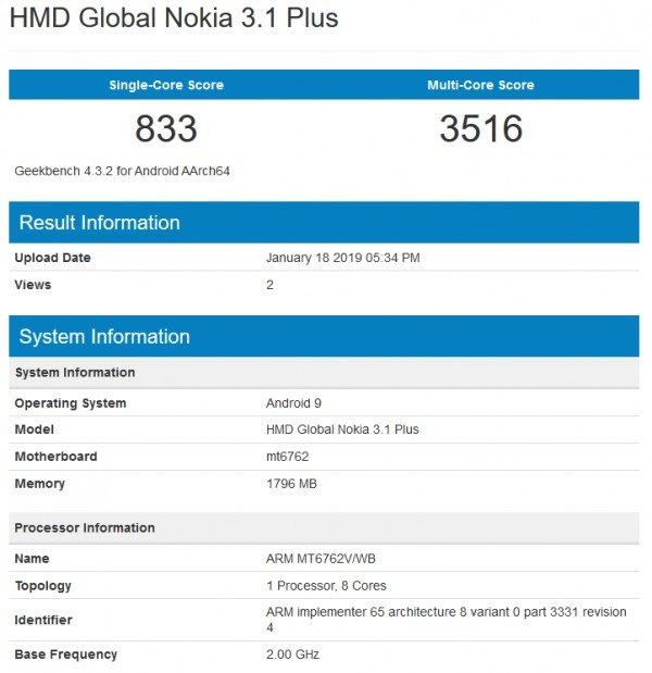 Το Nokia 3.1 Plus τρέχει το Android Pie σε δοκιμές στο GeekBench 1