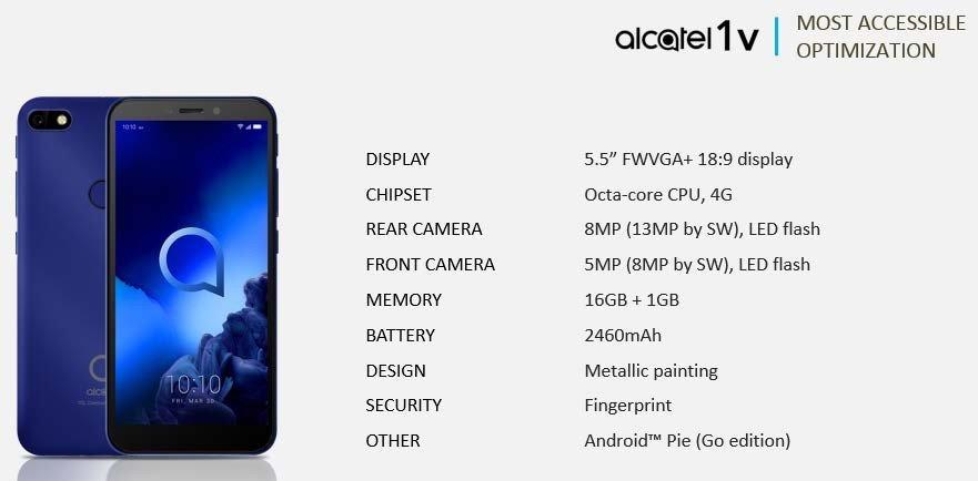 Η σειρά μοντέλων 2019 της Alcatel αποκαλύφθηκε και περιλαμβάνει τα 3V, 3L, 1s και 1V 3