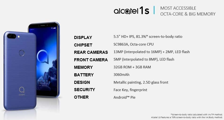 Η σειρά μοντέλων 2019 της Alcatel αποκαλύφθηκε και περιλαμβάνει τα 3V, 3L, 1s και 1V 2