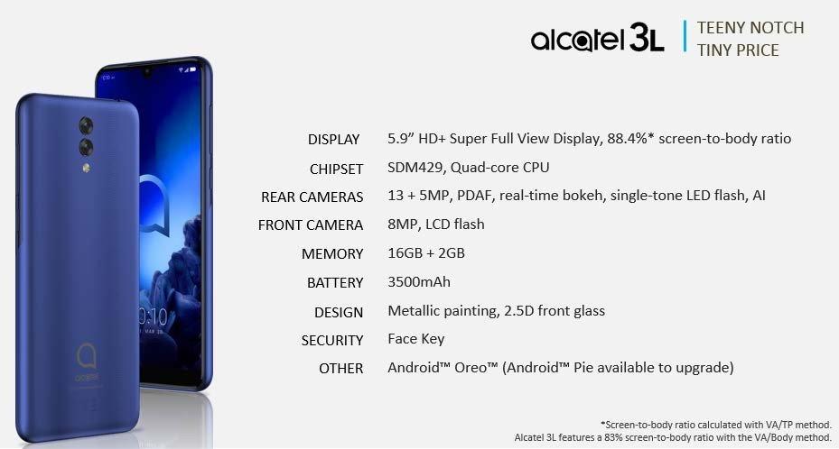Η σειρά μοντέλων 2019 της Alcatel αποκαλύφθηκε και περιλαμβάνει τα 3V, 3L, 1s και 1V 6