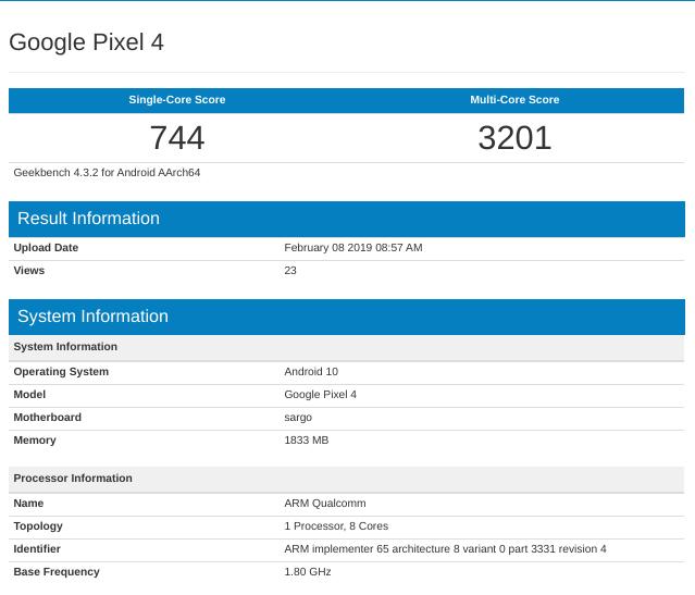"To Google ""sargo"" εμφανίζεται στο Geekbench με Android 10.0 και 2GB RAM"