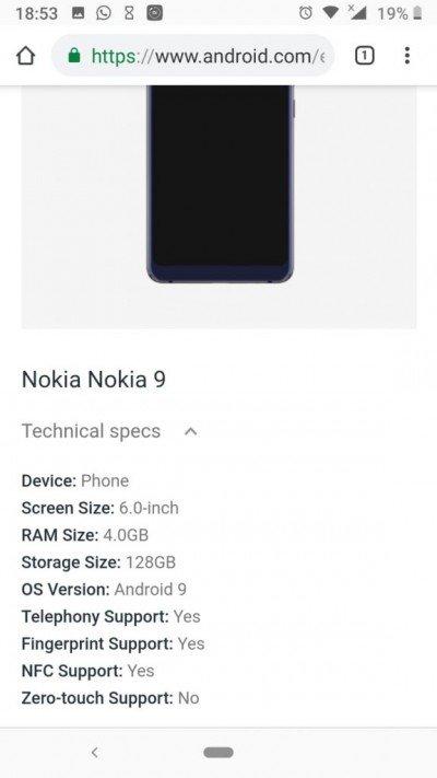 Η καταχώρηση του Nokia 9 PureView στην λίστα του Android Enterprise επιβεβαιώνει ορισμένες προδιαγραφές 2