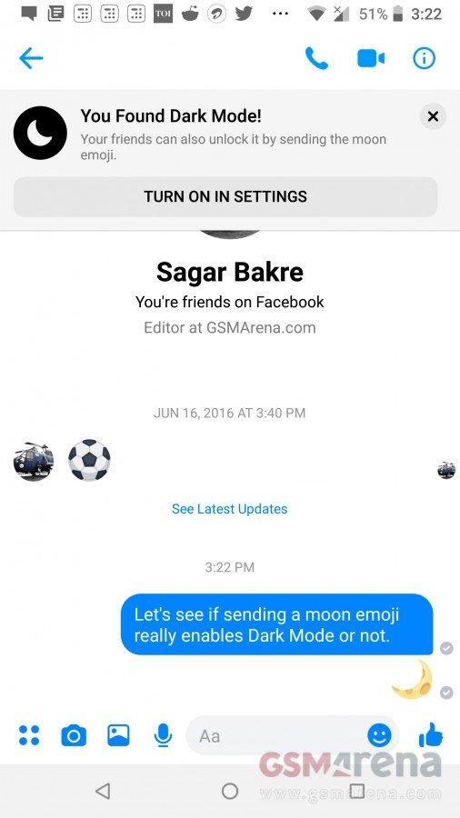 Μπορείτε να ενεργοποιήσετε το dark mode του Facebook Messenger με αποστολή ενός emoji 2