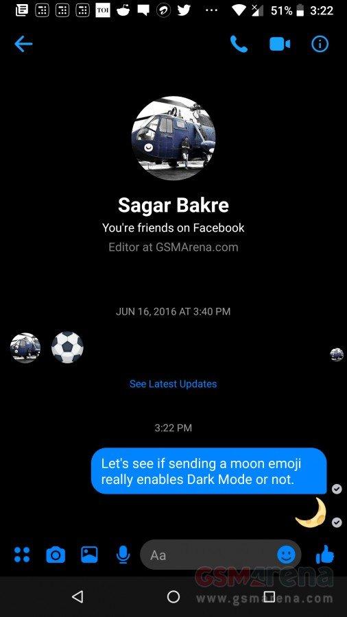 Μπορείτε να ενεργοποιήσετε το dark mode του Facebook Messenger με αποστολή ενός emoji 4