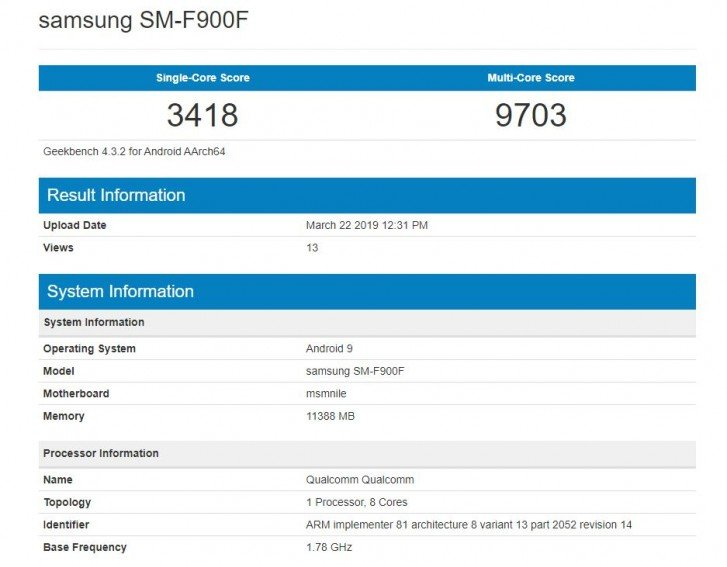 Το Samsung Galaxy Fold εμφανίζεται στο Geekbench, αλλά δεν εντυπωσιάζει με τα αποτελέσματα