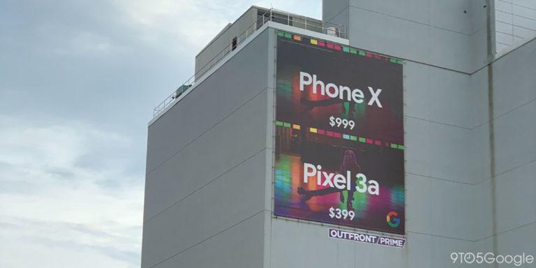 """Διαφημιστική πινακίδα συγκρίνει τις τιμές των Google Pixel 3a και του """"Phone X"""" 1"""