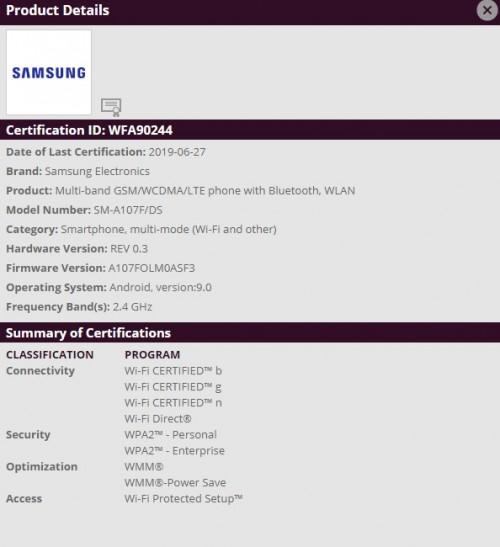 Samsung Galaxy A10s: Γρήγορα-γρήγορα πιστοποιήθηκε από την υπηρεσία wifi alliance 1