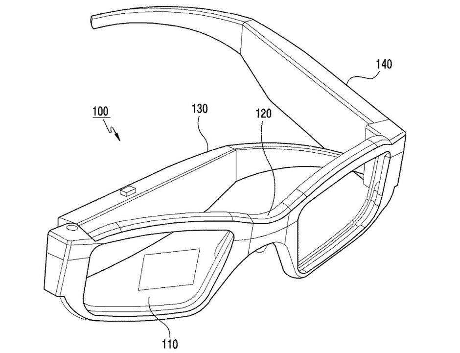Illustrations from Samsungs patent application for smartglasses