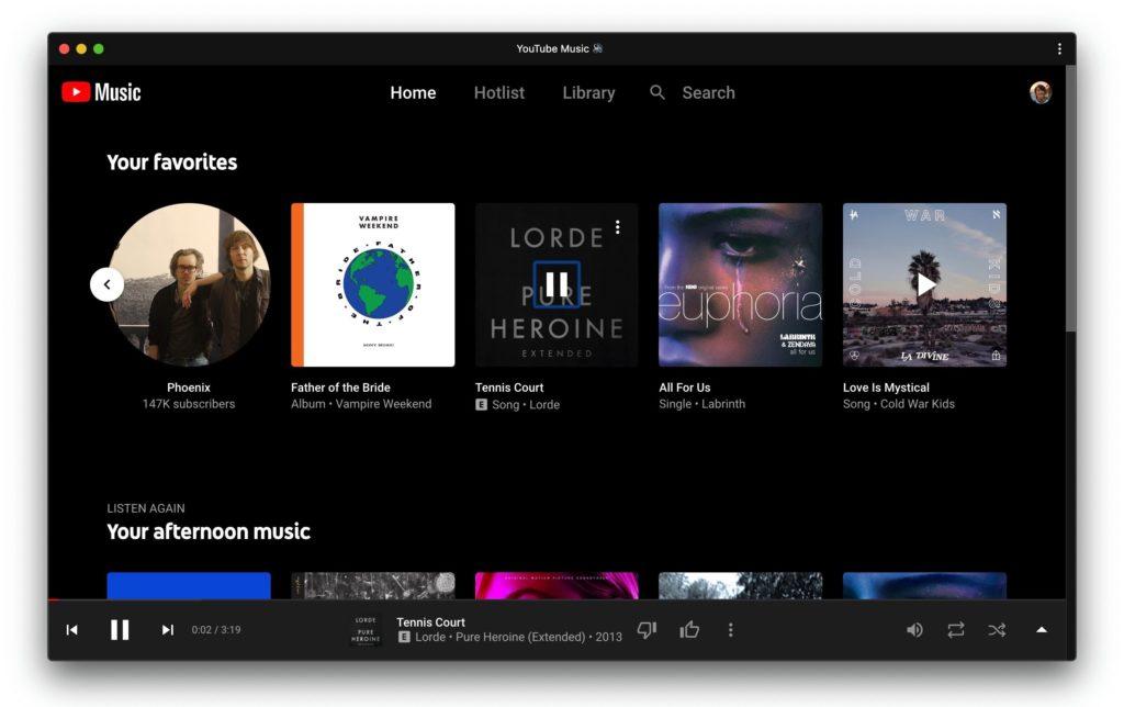 Desktop εφαρμογή του YouTube Music με συντομεύσεις πληκτρολογίου 1