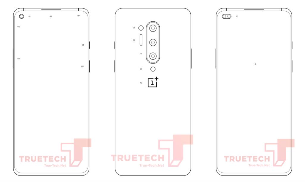 Διάγραμμα εμφανίζει το OnePlus 8 Pro με τέσσερις αισθητήρες κάμερας στο πίσω μέρος 1
