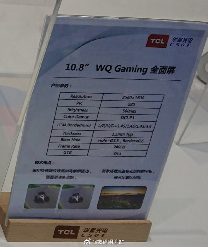TCL WQ Gaming Tablet Display: Νέα οθόνη με ρυθμό ανανέωσης 240Hz για ενσωμάτωση σε tablets 1