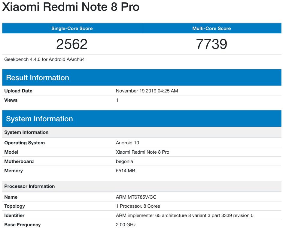 Στην βάση δεδομένων του GeekBench εντοπίστηκε και πάλι το Redmi Note 8 Pro με Android 10 1