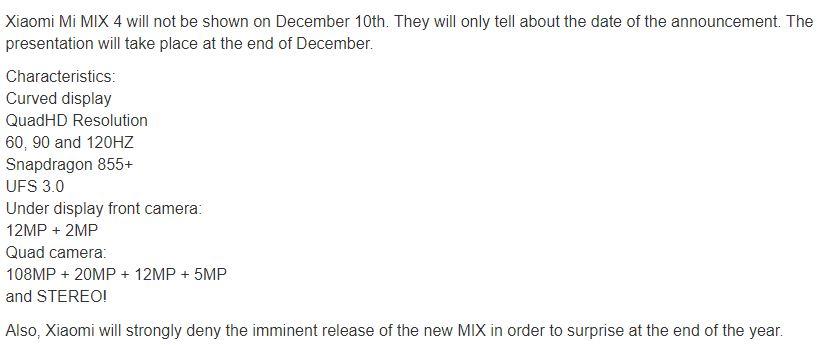 Αν και η Xiaomi διευκρινίζει πως είναι fake το υλικό, υπάρχει νέα διαρροή για το Mi Mix 4 3
