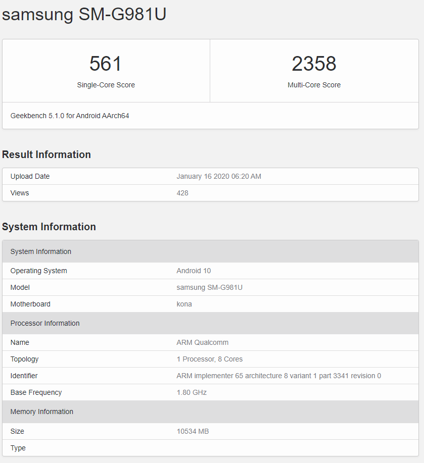 Και τα τρία μοντέλα της σειράς Samsung Galaxy S20 περνούν μέσω του Geekbench με chipsets SD865 και 12GB RAM 4