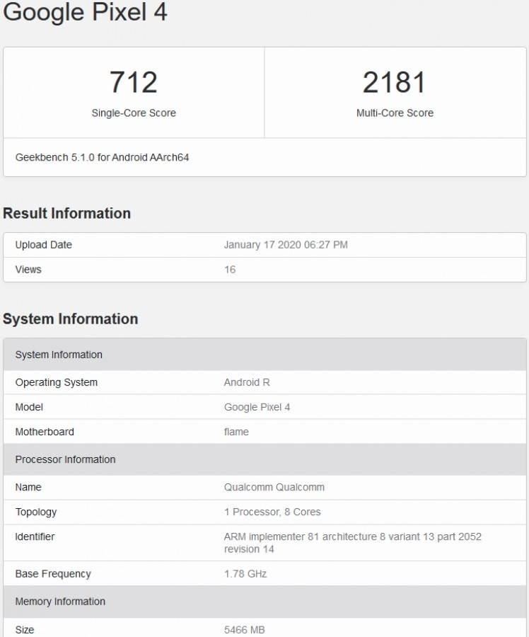 Google Pixel 4: Να που τώρα η συσκευή τρέχει το Android R / 11 όπως δείχνει το Geekbench 1