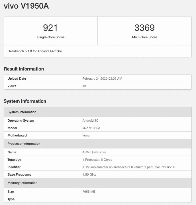 Αιφνίδια εμφανίστηκε το VIVO NEX 3 5G στο GeekBench με 8GB RAM και SoC SD 856 1