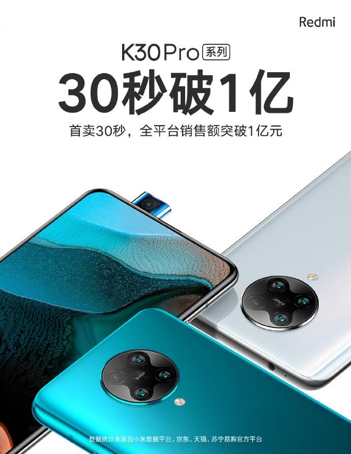 Σε 30 δευτερόλεπτα οι πωλήσεις του Redmi K30 Pro έφθασαν τα 100 εκατομμύρια γιουάν 1