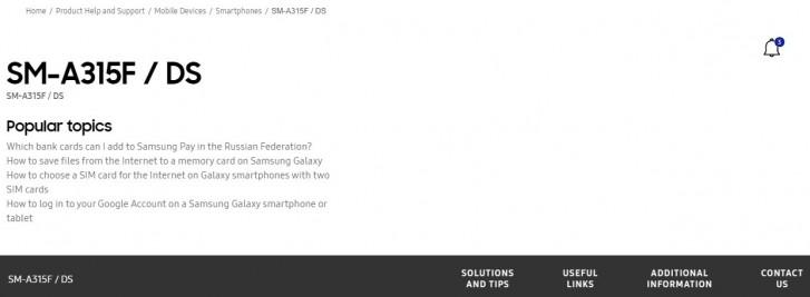 Έχει συμπεριληφθεί η σελίδα υποστήριξης του νέου Samsung Galaxy A31 στο επίσημο site της εταιρείας 1