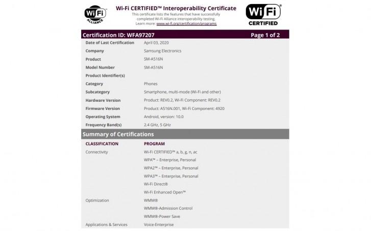 Samsung Galaxy A51 5G: Ακριβώς μια ανάσα πριν την εμπορική του κυκλοφορία, καθώς πήρε και πιστοποίηση Wi-Fi 1