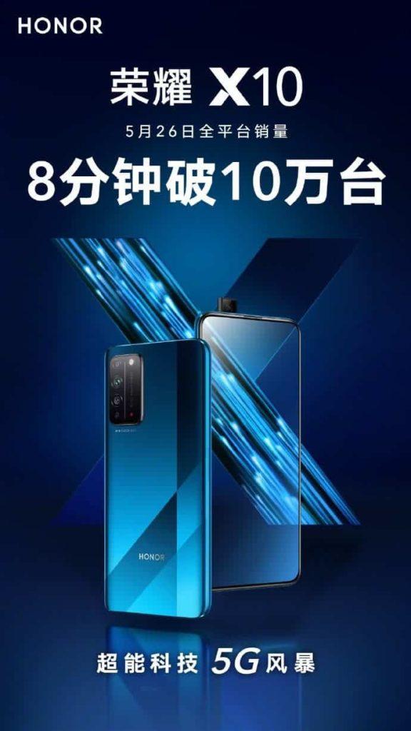 Honor X10 5G: Κατάφερε να πετύχει πωλήσεις 100.000 μονάδων σε 8 λεπτά 1