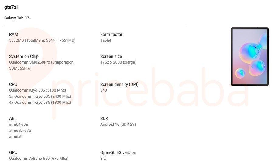 Samsung Galaxy Tab S7, Tab S7 +: Όλες οι προδιαγραφές του, καθώς και μερικές εικόνες αποκαλύπτονται μέσω λιστών του Google Play Console 2