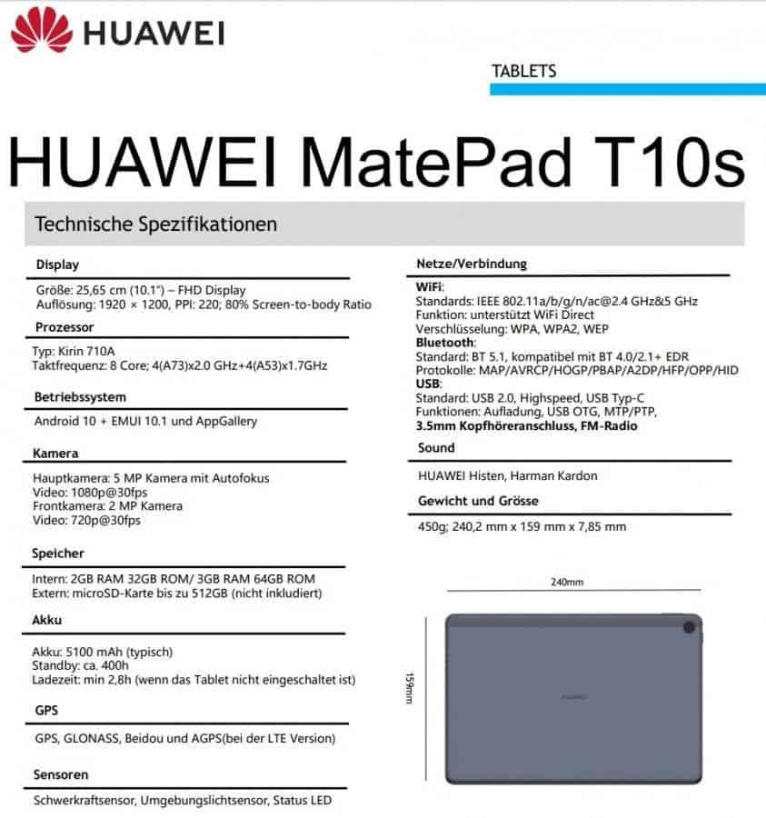 Φανερώθηκαν οι προδιαγραφές των νέων Huawei MatePad T10 και T10S 2