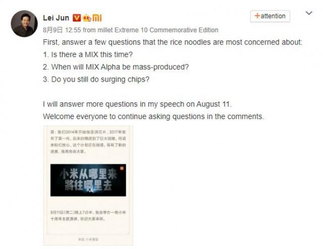 Ο CEO της Xiaomi είπε πως η σειρά Mi MIX και οι επεξεργαστές Surge έχουν εισέλθει σε φάση αναμονής, αλλά θα επιστρέψουν κάποια μέρα 1