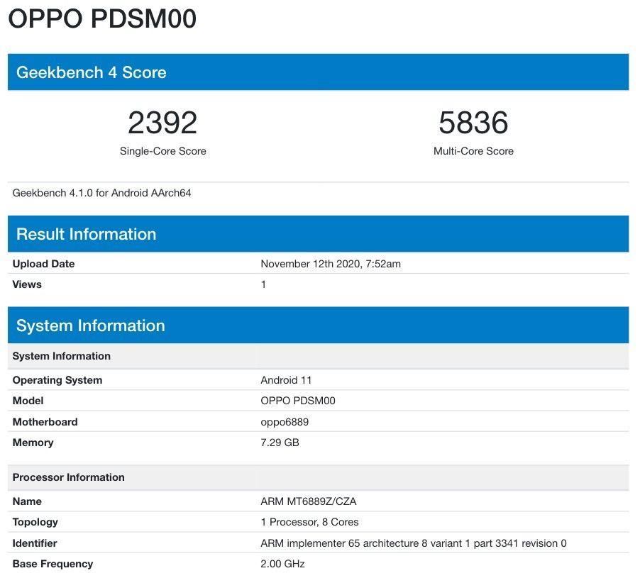 Οι προδιαγραφές ενός νέου μοντέλου OPPO PDSM00 εντοπίστηκαν στο Geekbench 1