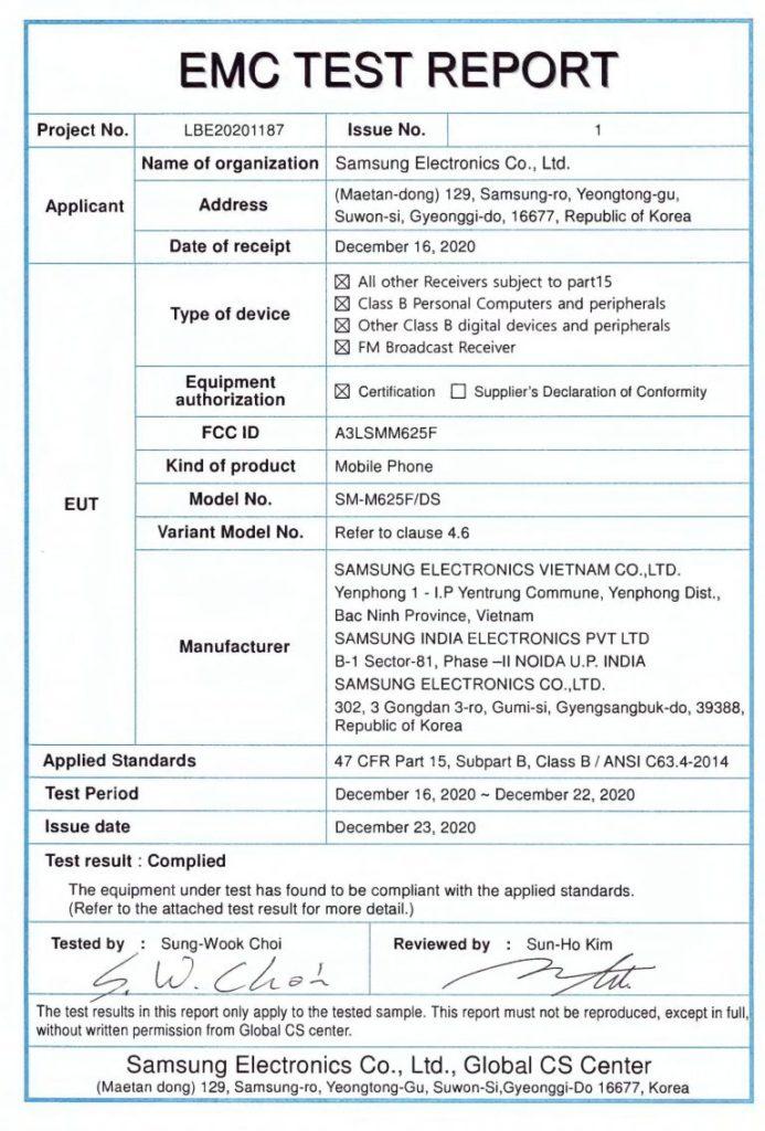 Πιστοποίηση έχει δοθεί στο νέο Samsung Galaxy M62 με μπαταρία 7000mAh και φορτιστή 25W 2
